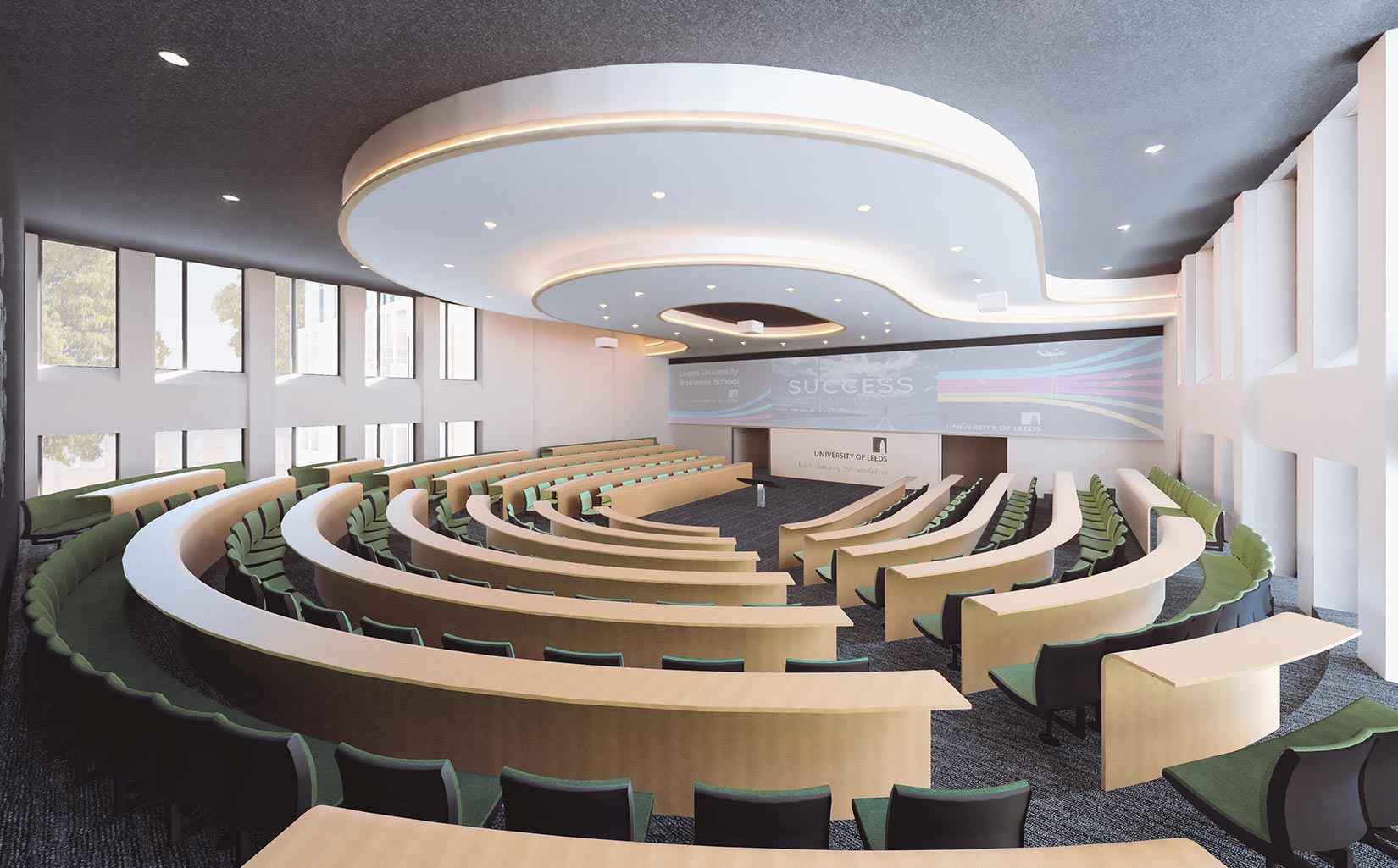 Business School, University of Leeds, 3D visual of the auditorium