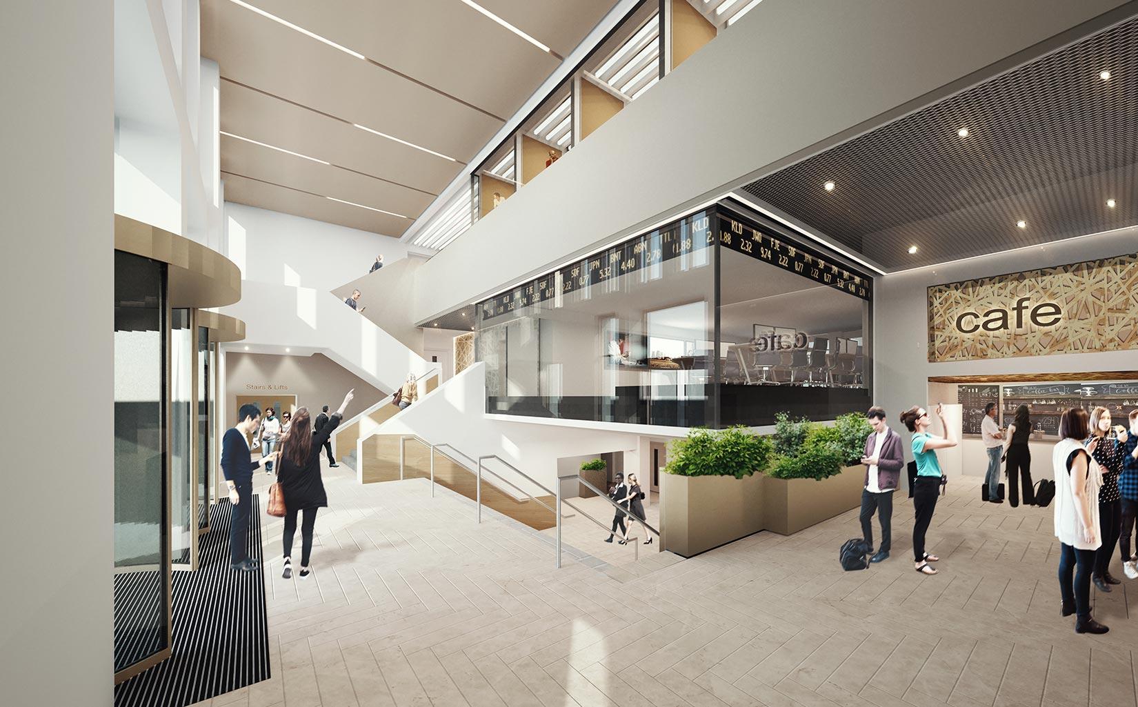 Business School, University of Leeds, 3D visual of the foyer