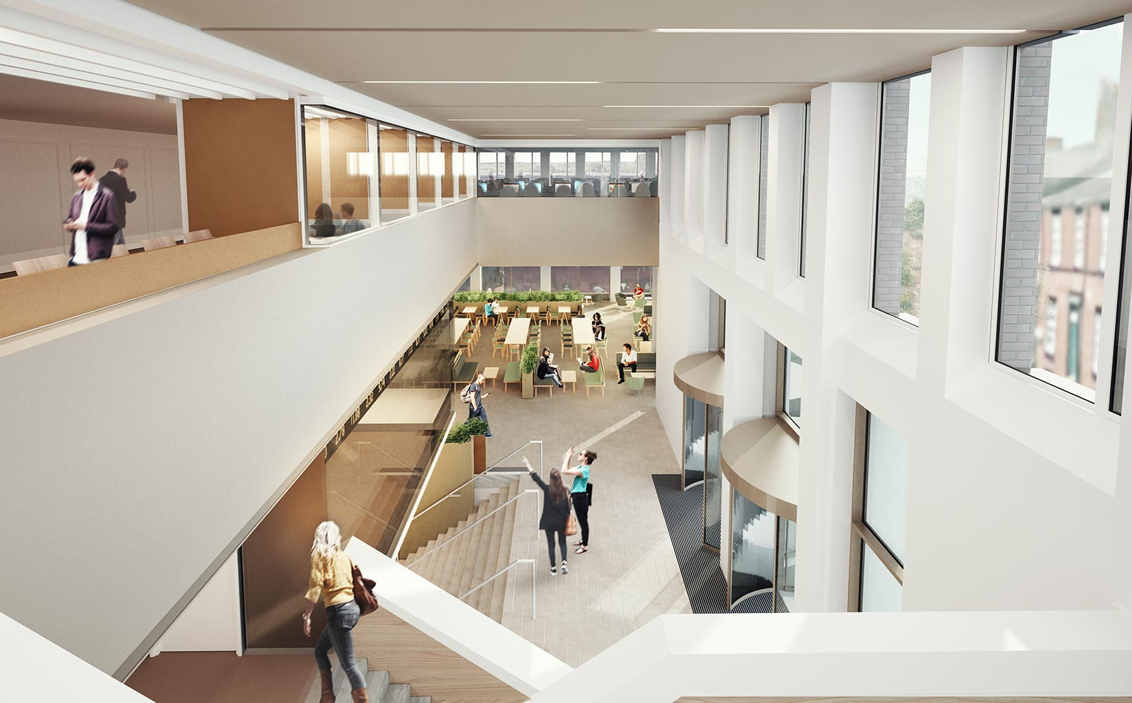 Business School, University of Leeds, 3D visual from the upper level