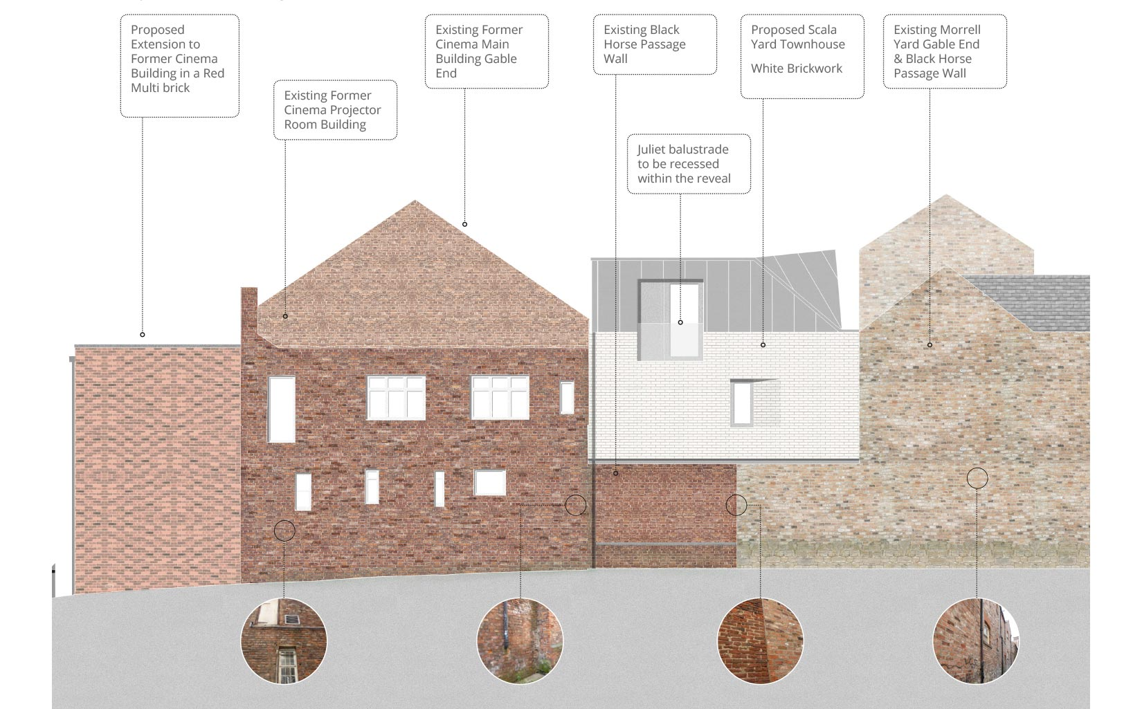 Scala Yard and The Electric Cinema, York, Proposed Black Horse Passage elevation