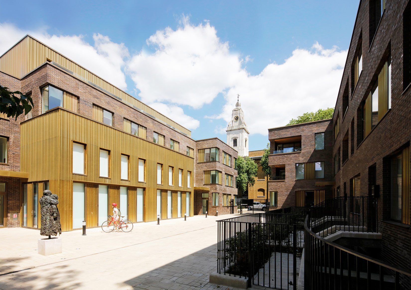 Hackney Gardens, Courtyard and Church in the background
