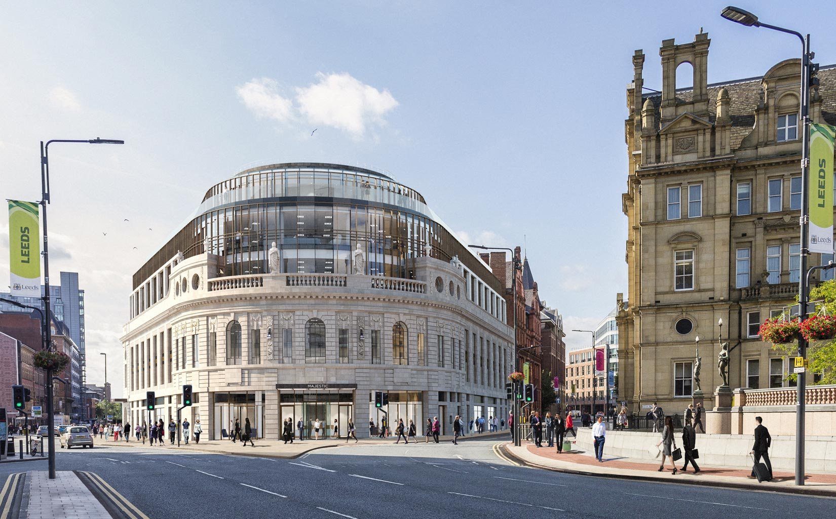 The Majestic, Leeds, view from City Square, Image © RIOT CGI Ltd