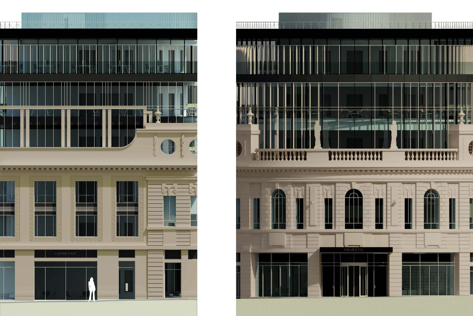 The Majestic, Leeds, Entrance Elevation & Typical Side Bay Elevation
