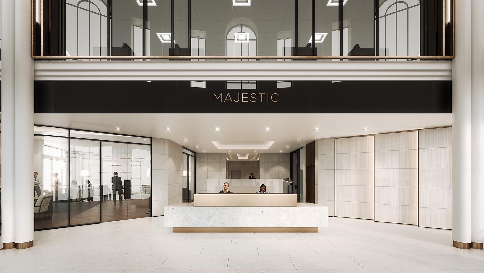 The Majestic, Leeds, reception visual, Image © RIOT CGI Ltd