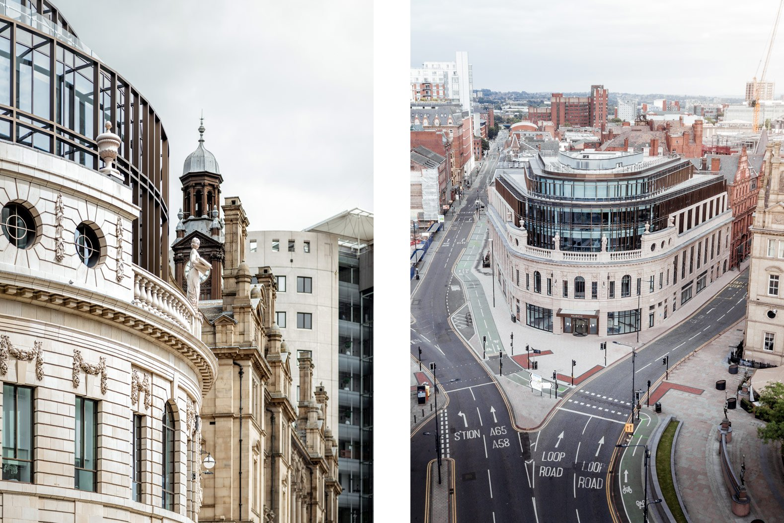 The Majestic, Leeds, Detail and Aerial, Photography by Stevie Campbell