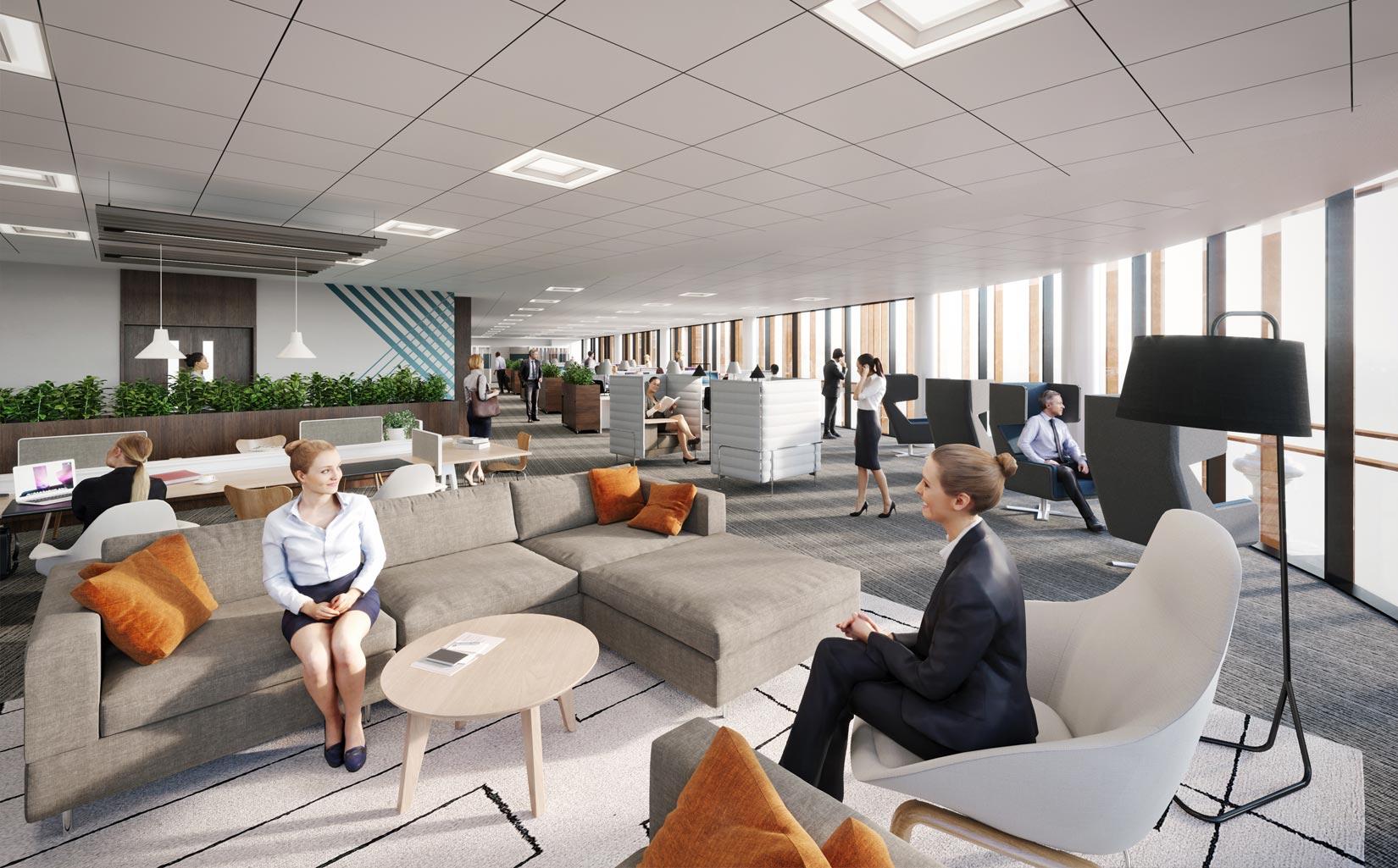The Majestic, Leeds, office floor visual, Image © RIOT CGI Ltd