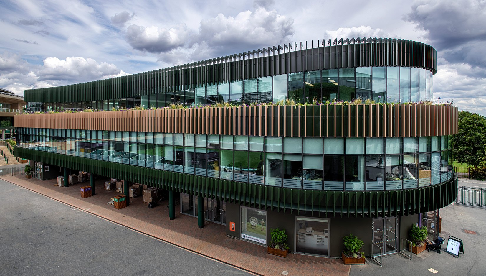 The Museum Building, AELTC, Wimbledon, entrance : Photograph by Tony MacLean, Image Works (London) Ltd