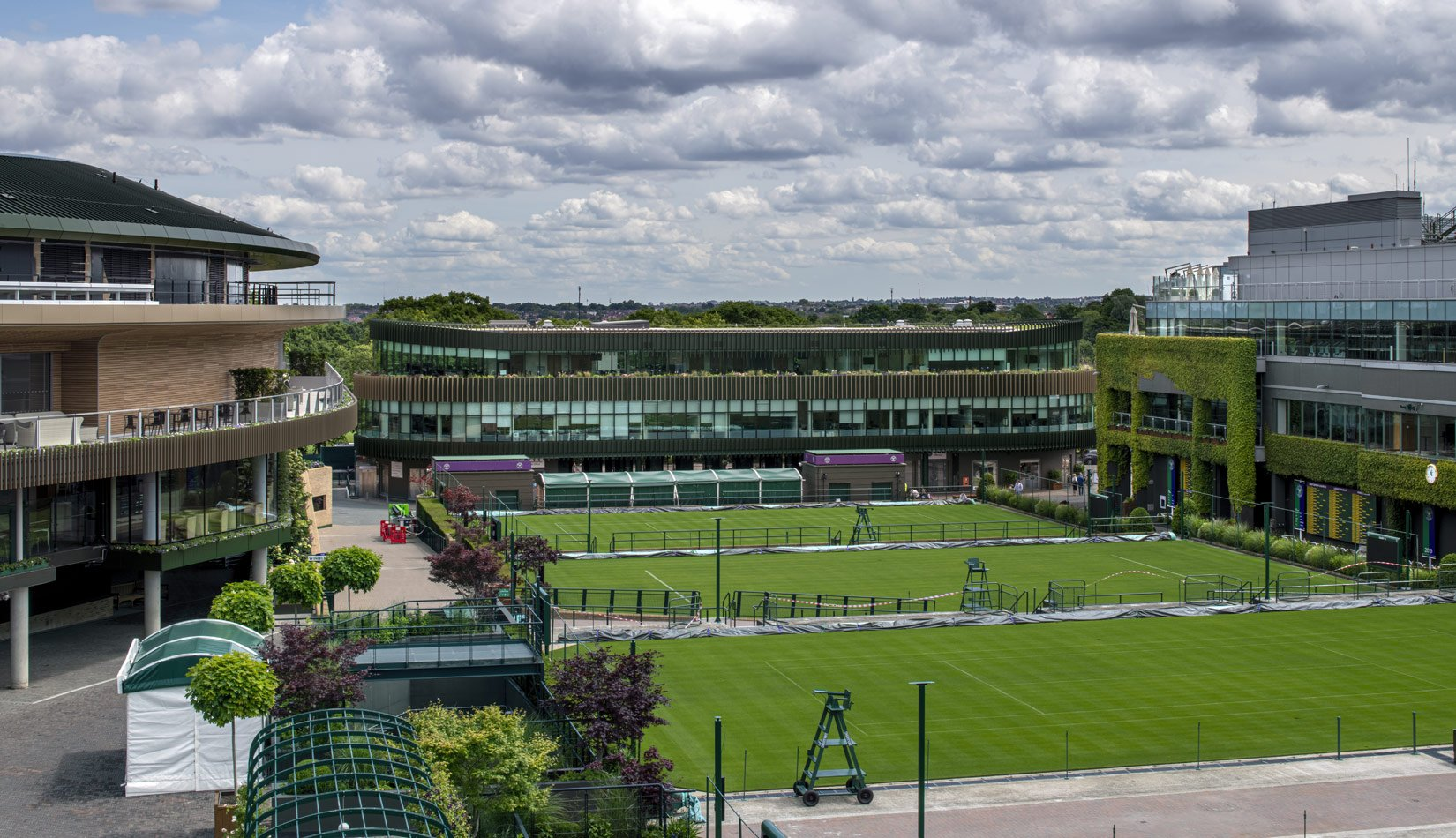 The Museum Building, AELTC, Wimbledon, View from tennis courts : Photograph by Tony MacLean, Image Works (London) Ltd