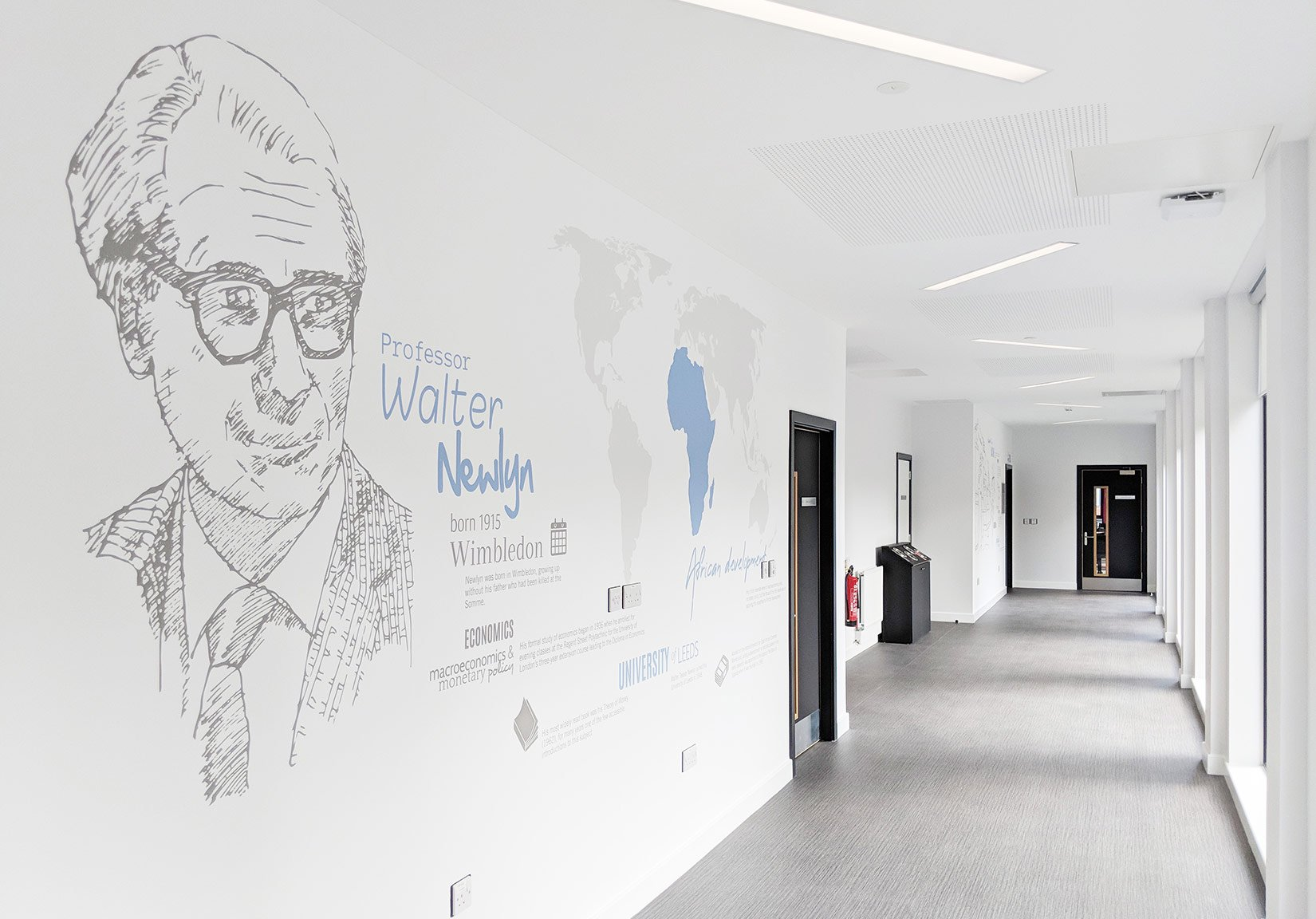 Newlyn Building, University of Leeds, wall graphics Professor Walter Newlyn and his achievements