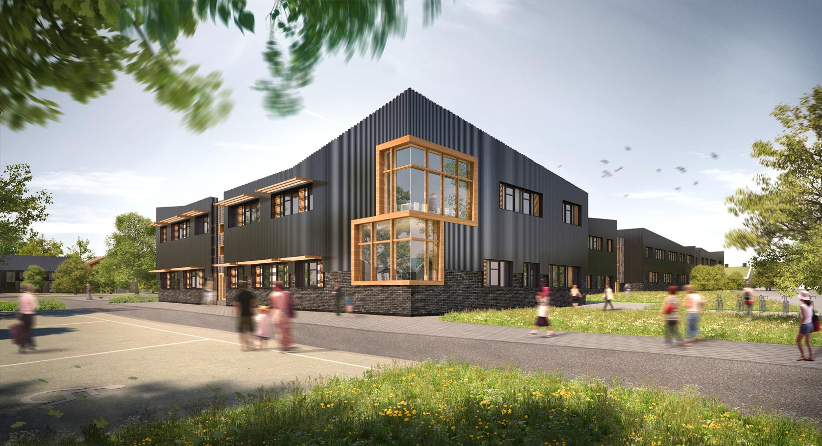 Oaklands College, 3D visual of the General Teaching Building – new science laboratories, flexible teaching and learning spaces for a range of vocational and A Level Courses