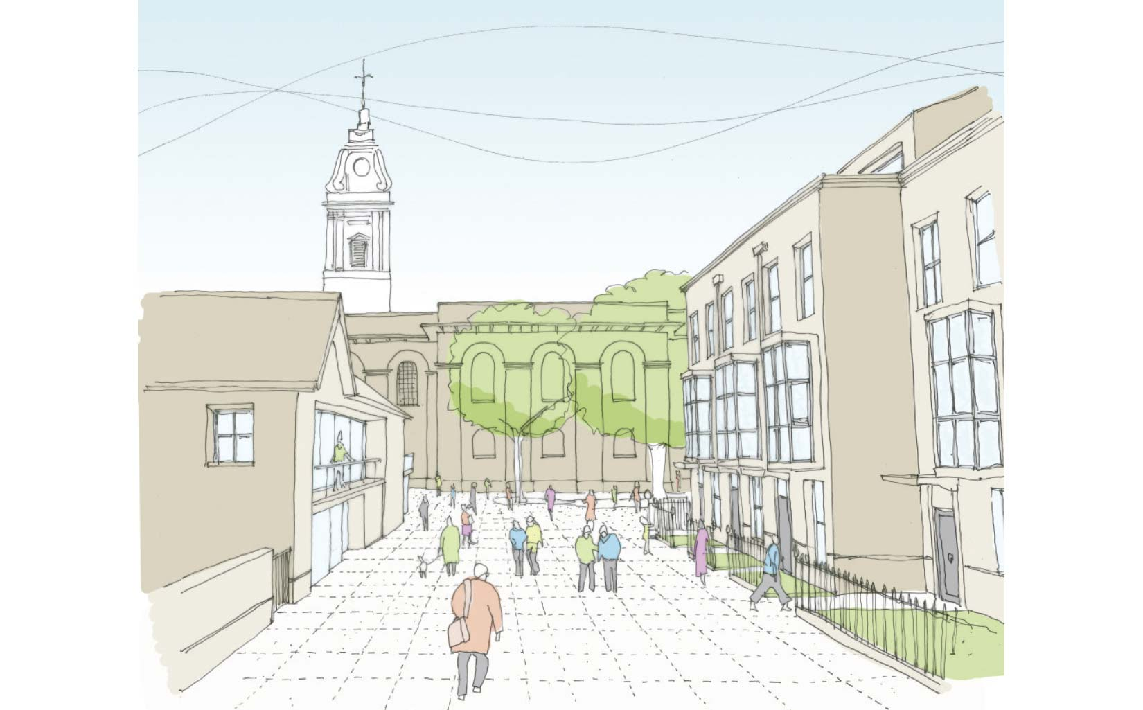 St John's Gardens, Hackney, London, Early sketch perspective showing the new development and approach to the St John-at-Hackney church through the new courtyard