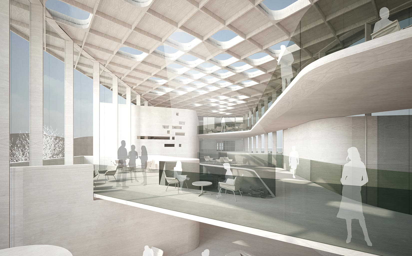 B. Braun Innovation, Communication & Education Centre, Sheffield, Concept Interior Model looking towards the ceiling