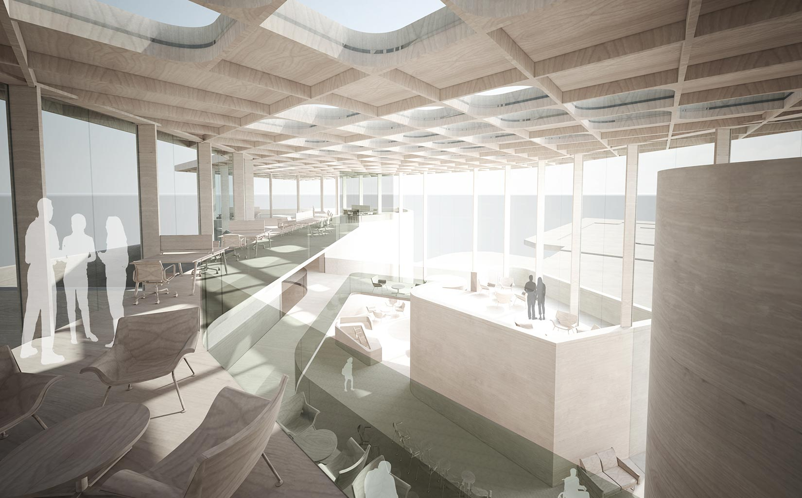 B. Braun Innovation, Communication & Education Centre, Sheffield, Concept Interior Model from Balcony