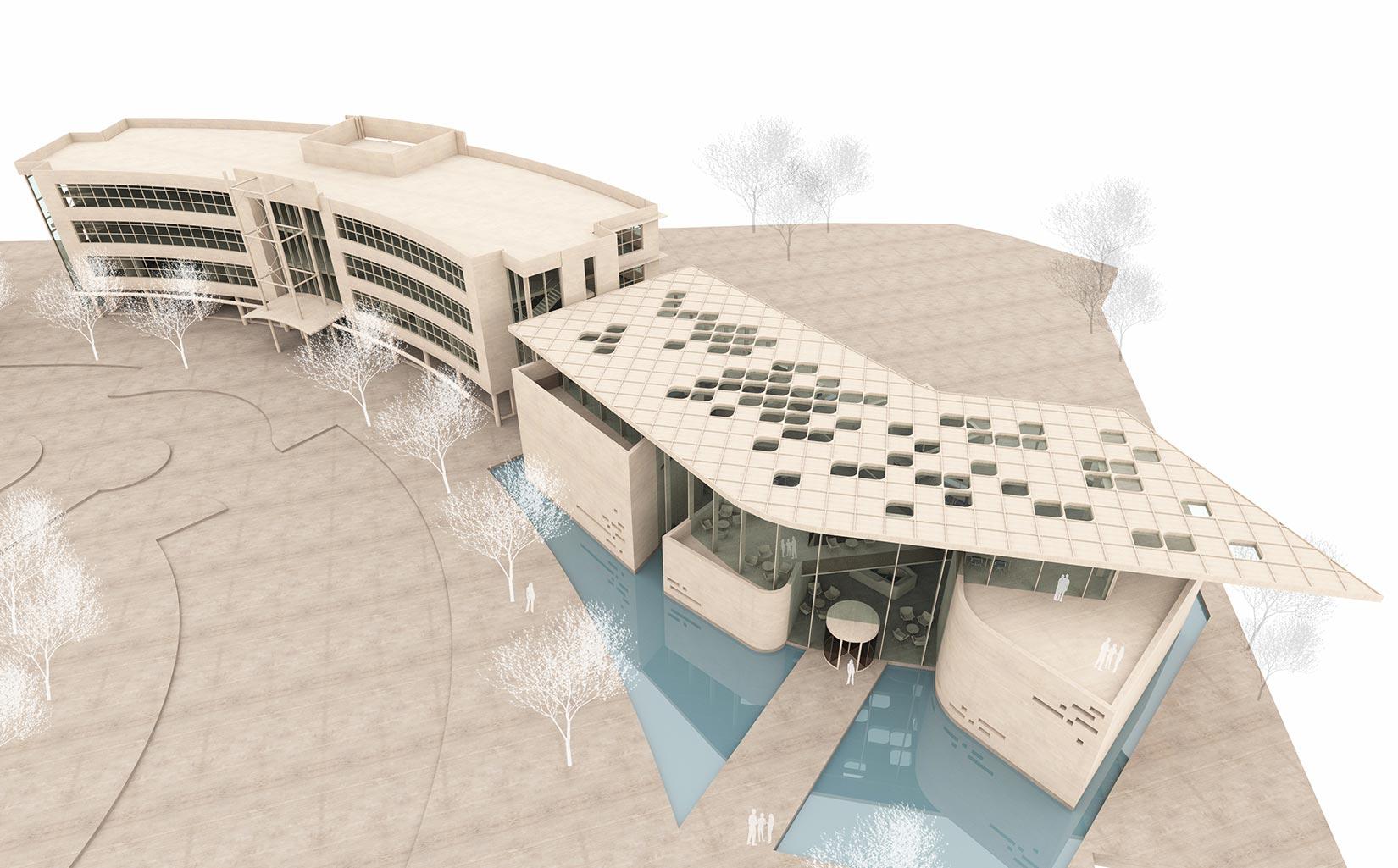 B. Braun Innovation, Communication & Education Centre, Sheffield, Concept Model Aerial