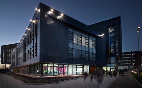 Beacon Centre, Blackburn College, approach to the building at night