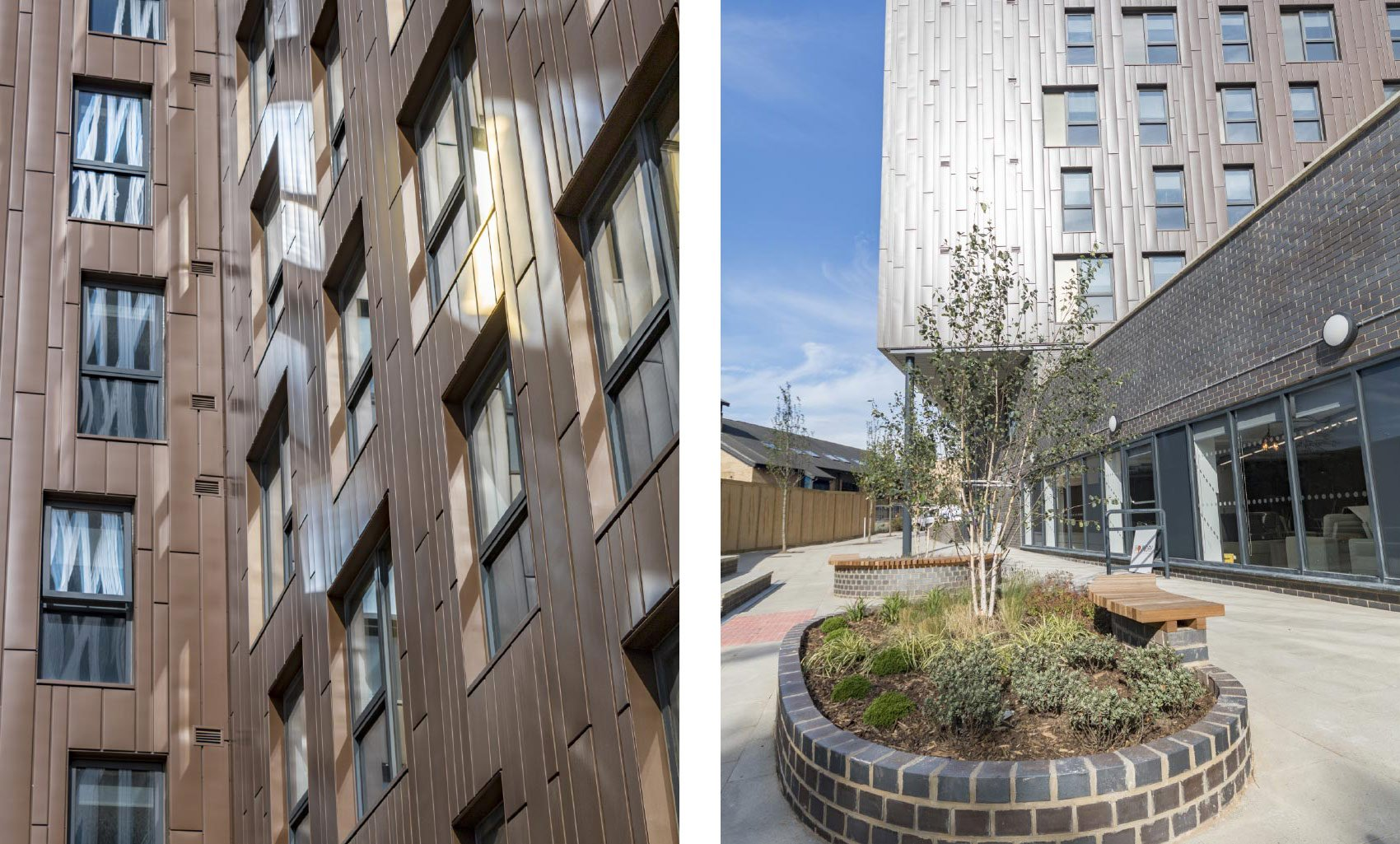 The Foundry , Cavendish Street, Leeds, Detail Cladding Panels and Landscape Courtyard