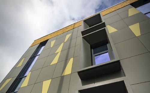 Glossopdale Community College, Derbyshire, cladding detail