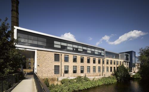 Larchfield Mills, Huddersfield University, view from the bridge