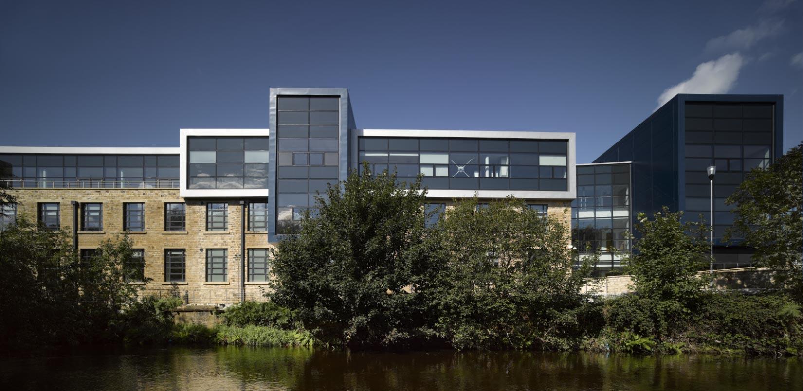 Larchfield Mills, Huddersfield University, View across the river
