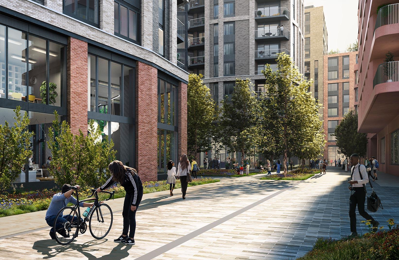 MacBean Street, Woolwich, London : 3D Visual of landscaped walkway