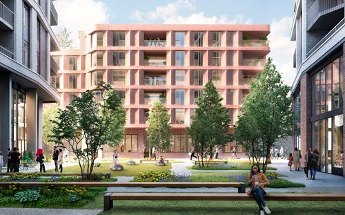 MacBean Street, Woolwich, London : 3D Visual of courtyard and proposed block E
