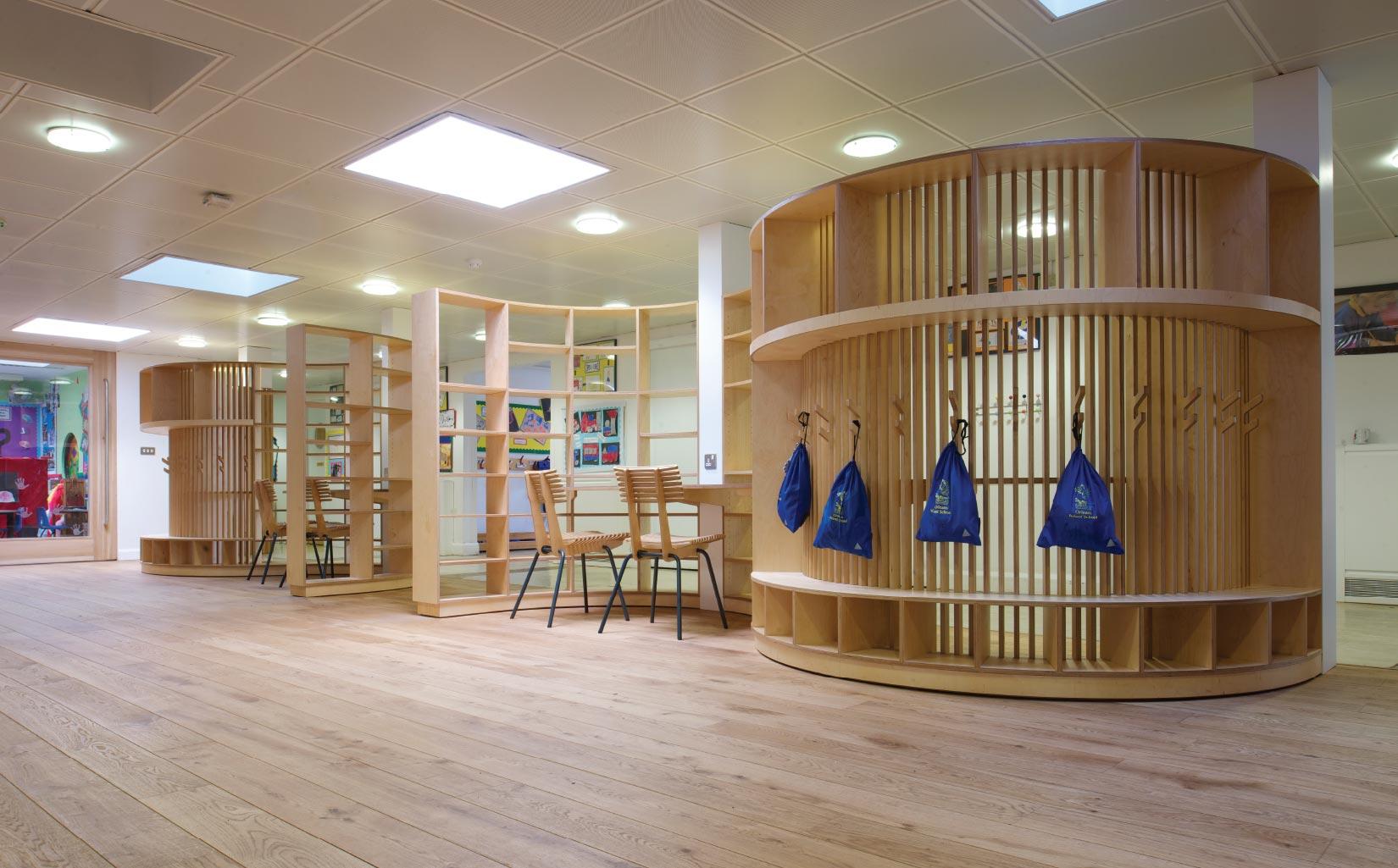 Orleans School, Twickenham, London, Bespoke Furniture Design seating area and clothes hooks