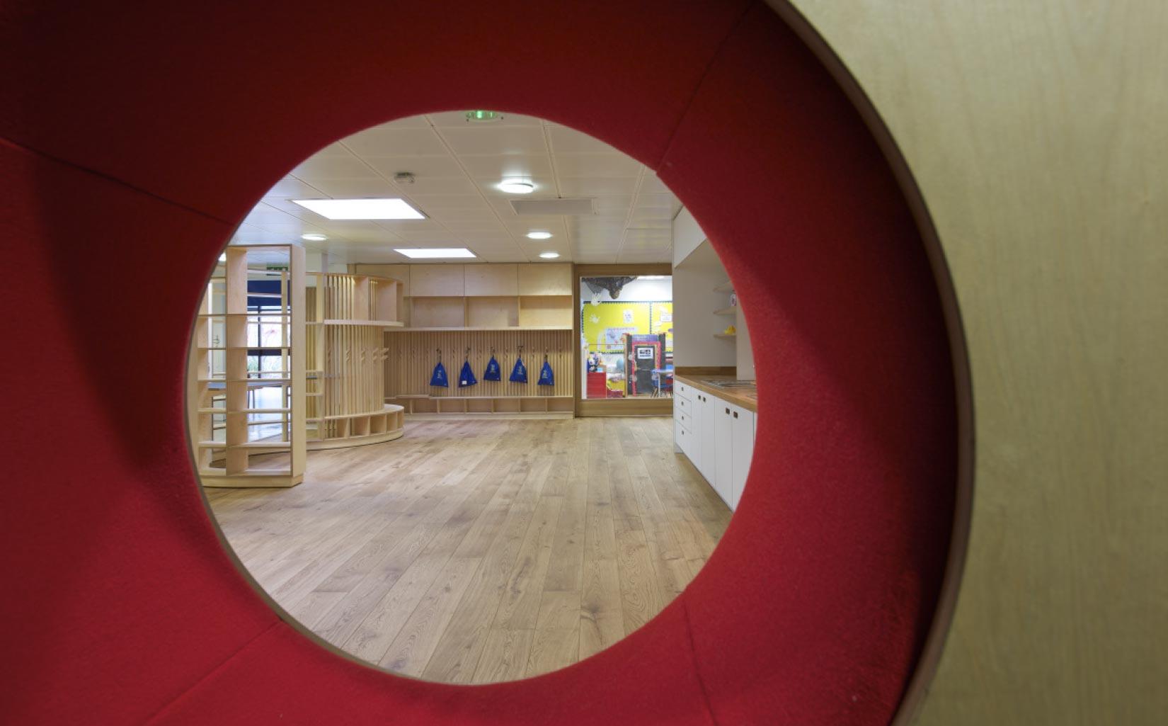 Orleans School, Twickenham, London, interior furniture hole