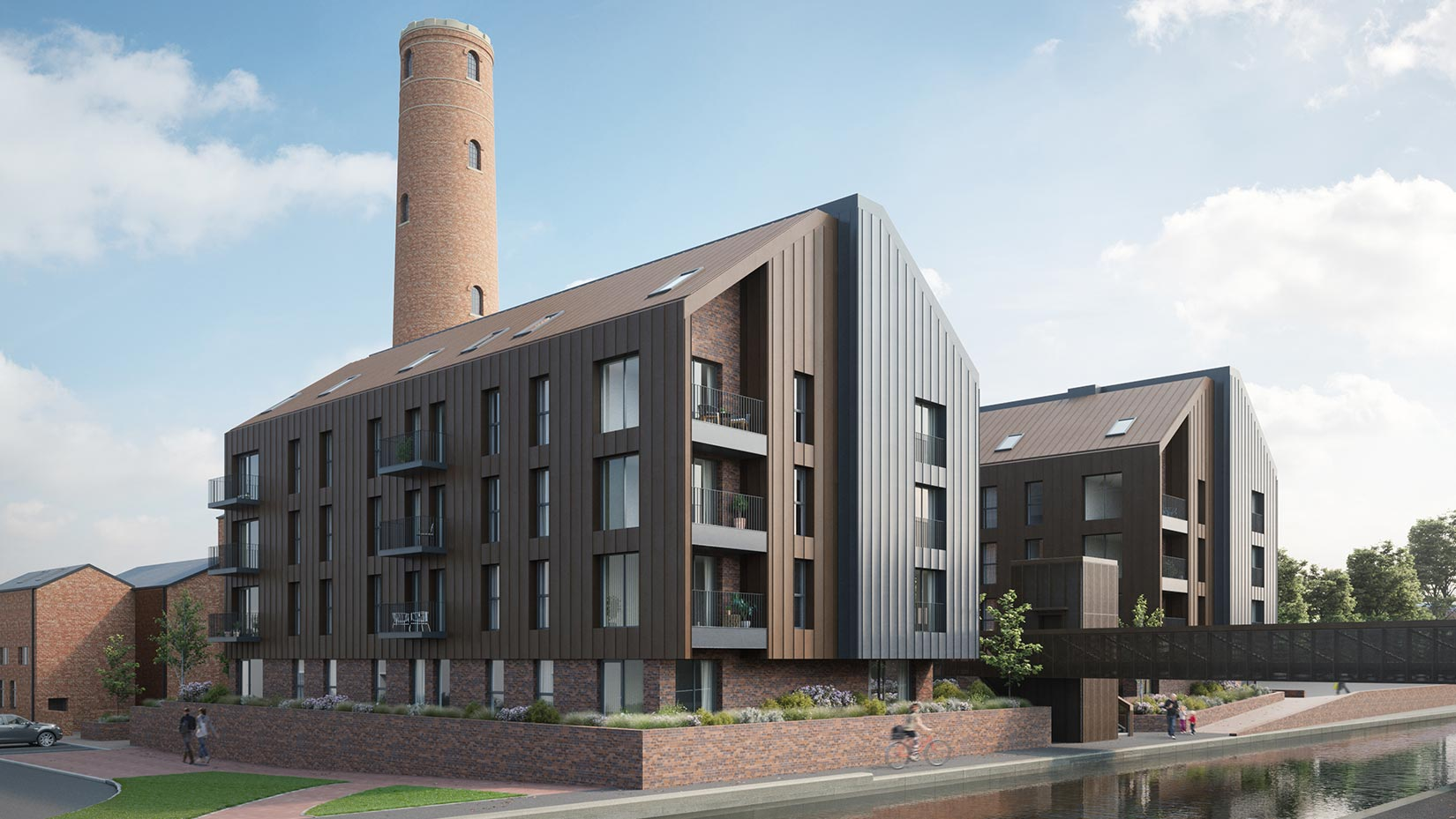Shot Tower, Chester, 3D visual north east across the canal