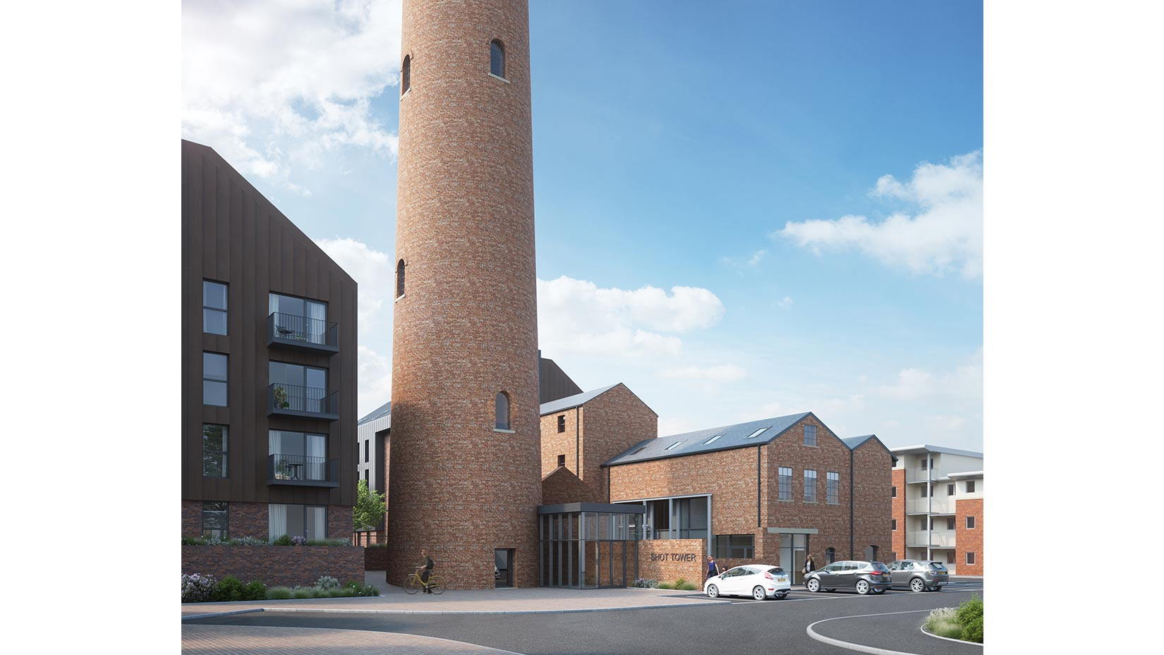 Shot Tower, Chester, 3D visual south towards the base of the Shot Tower