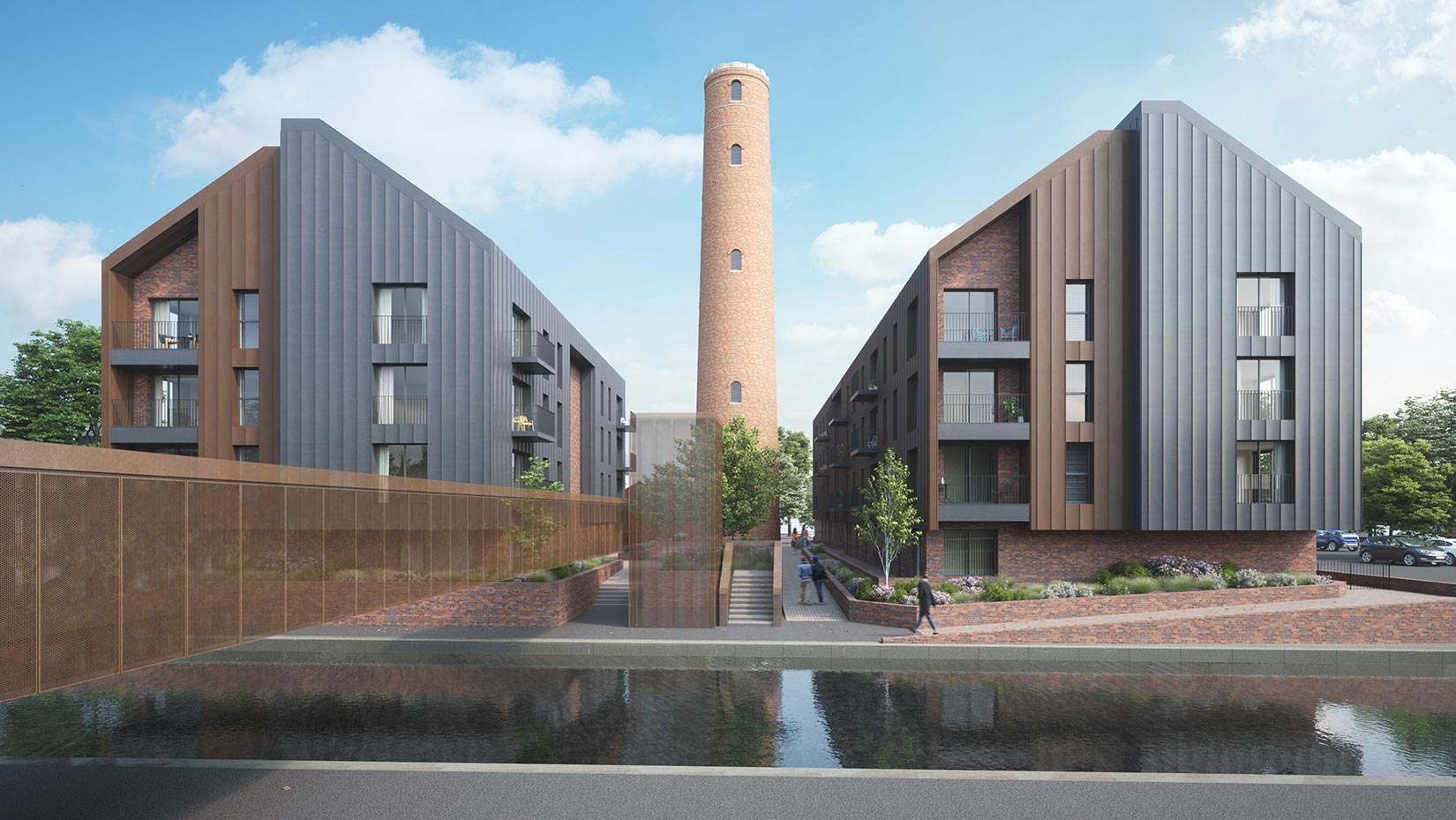 Shot Tower, Chester, 3D visual north across the canal into the central courtyard