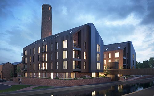 Shot Tower, Chester, 3D visual north east across the canal at dusk