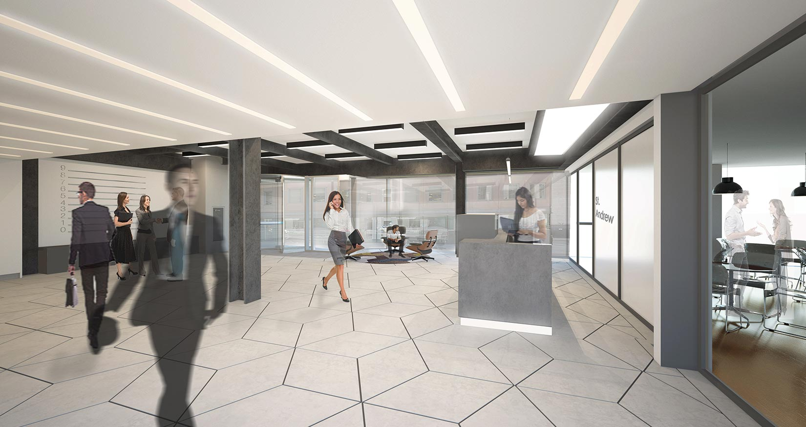 20 Saint Andrews House, Holburn, London, 3D Visual of reception