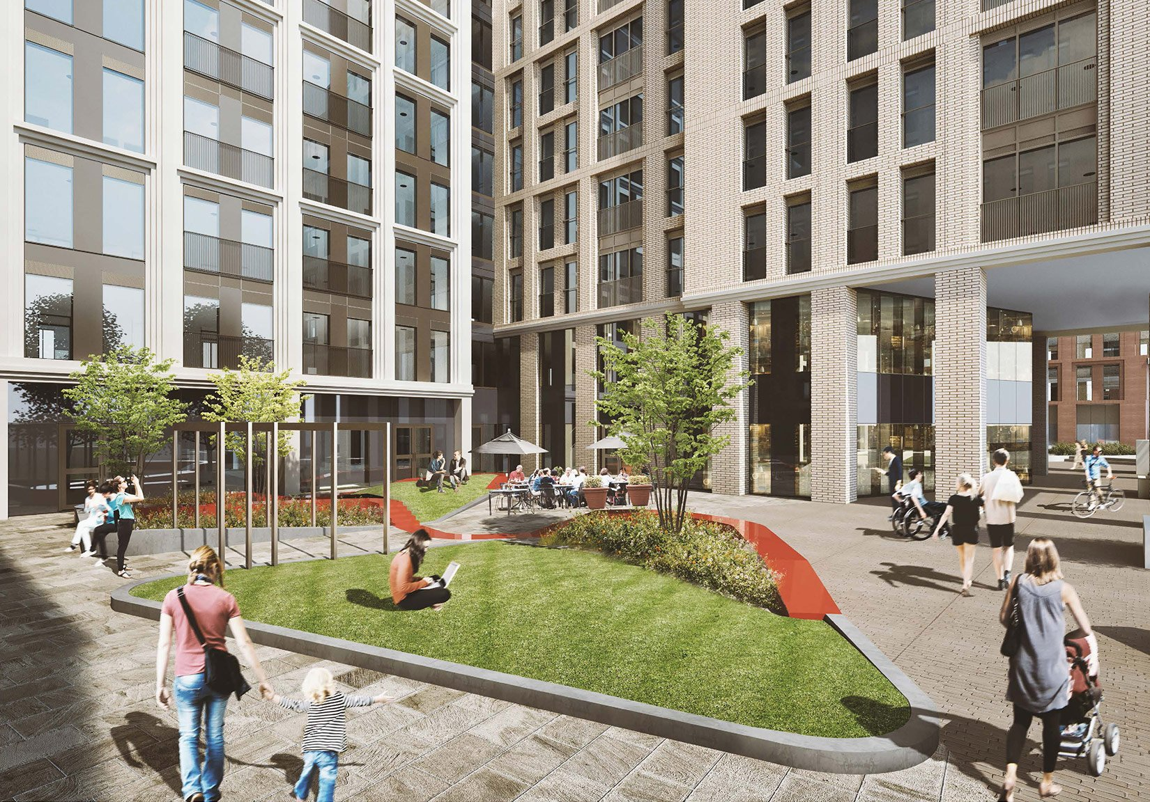 St Cecilia Place, Quarry Hill, Leeds, 3D Visual Courtyard Space