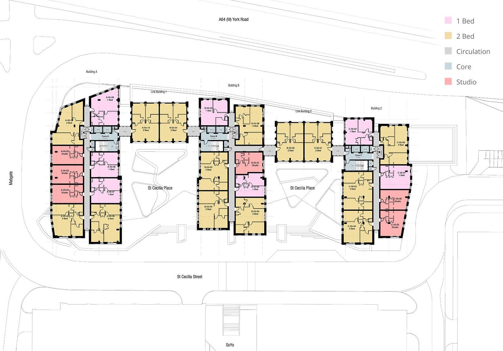 St Cecilia Place, Quarry Hill, Leeds, Floor Plan