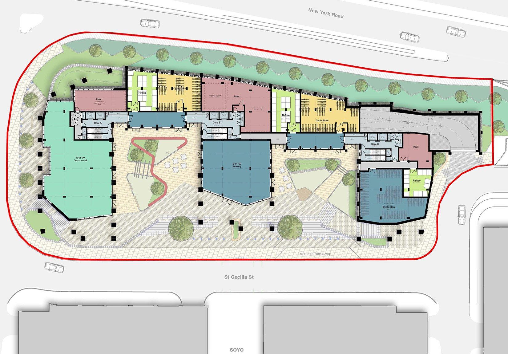 St Cecilia Place, Quarry Hill, Leeds, Site Plan