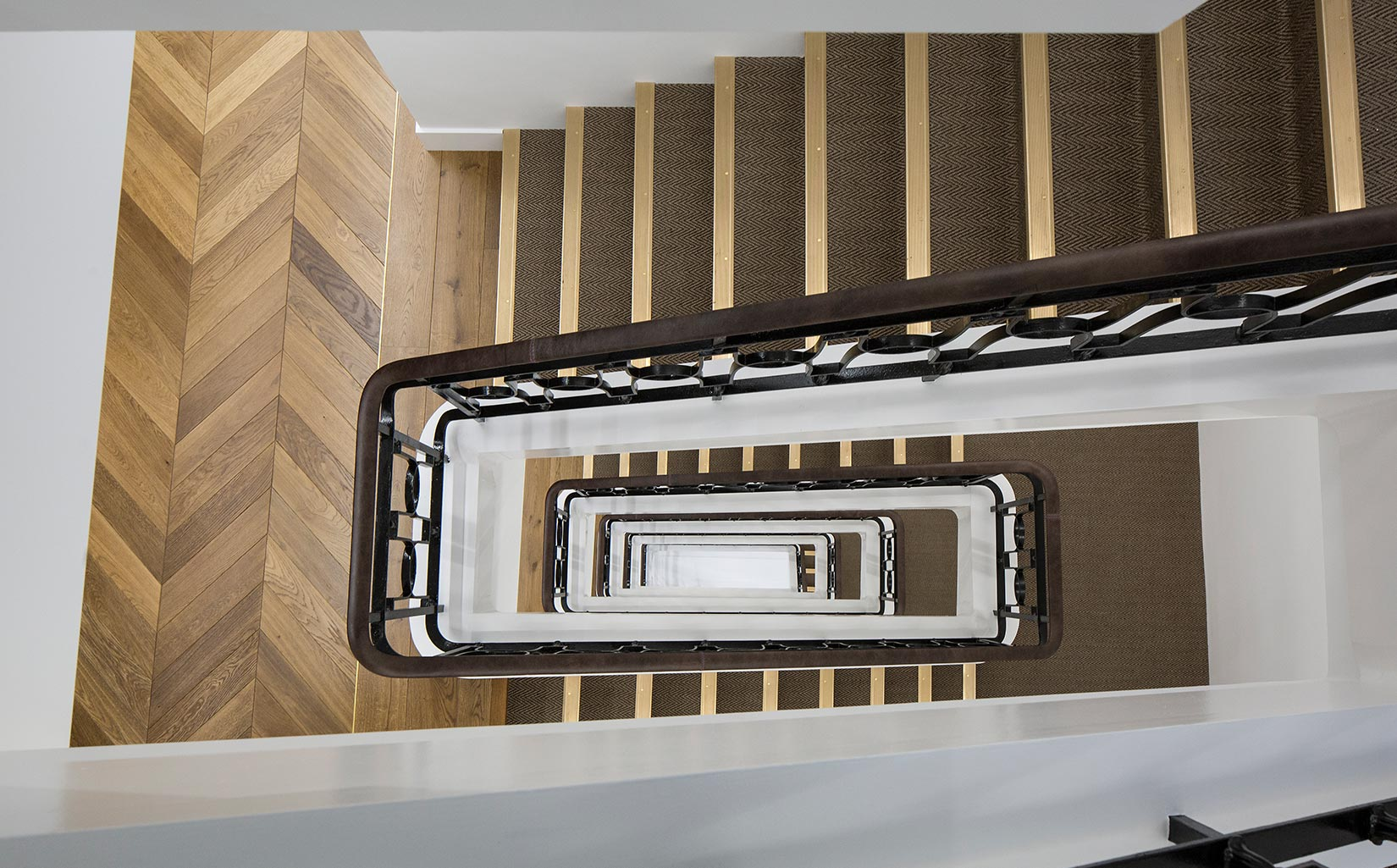 Stratford Place, Mayfair London, Stairs looking down
