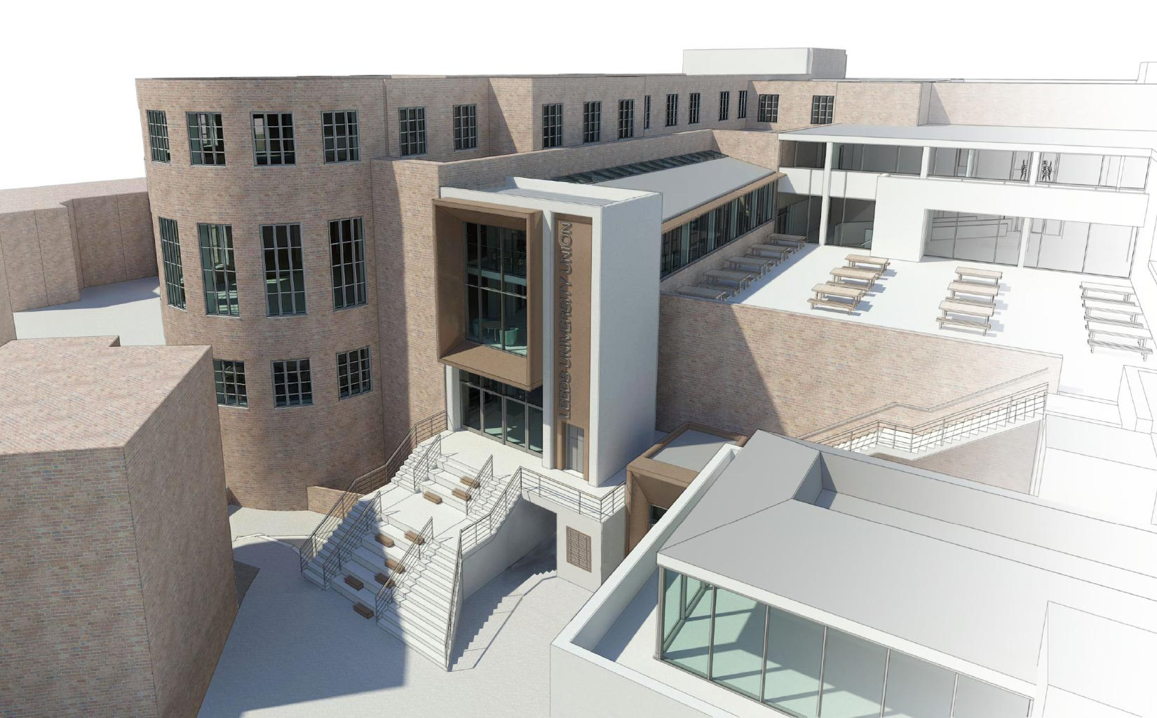 University of Leeds Students Union, 3D Visual of the entrance