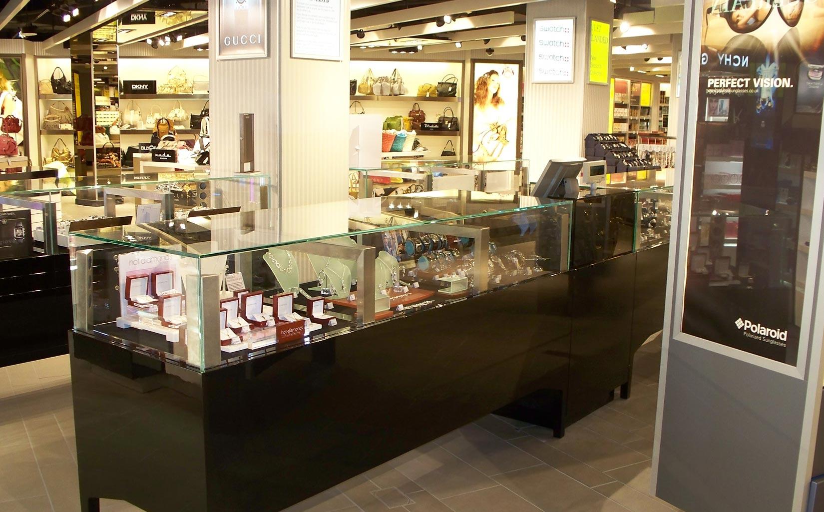 Alpha Retail, Terminal 1 Manchester Airport, Inside Biza retail unit jewellery