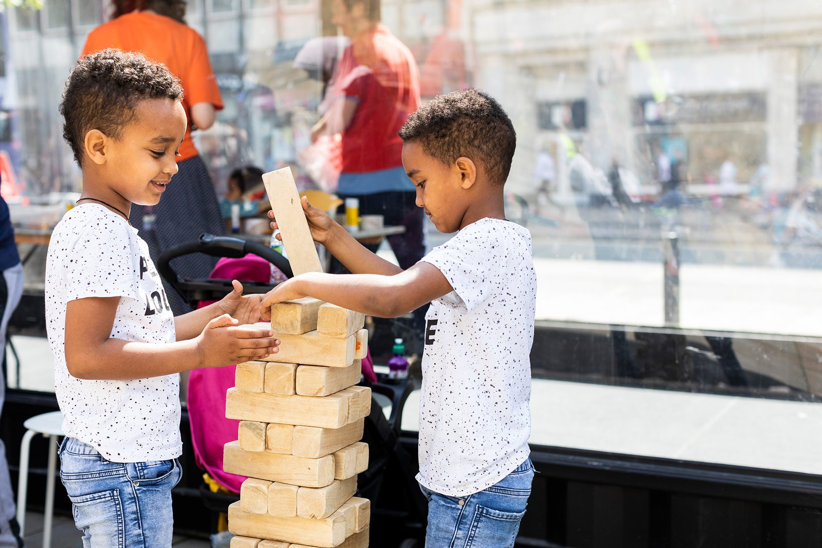 Create, Sculpt, Play 2019, outside Victoria Gardens, Leeds, Jenga Blocks