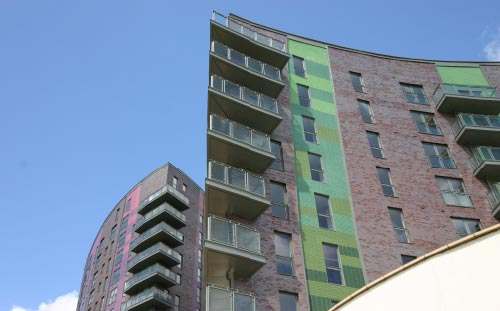 Echo, Leeds, green and purple cladding
