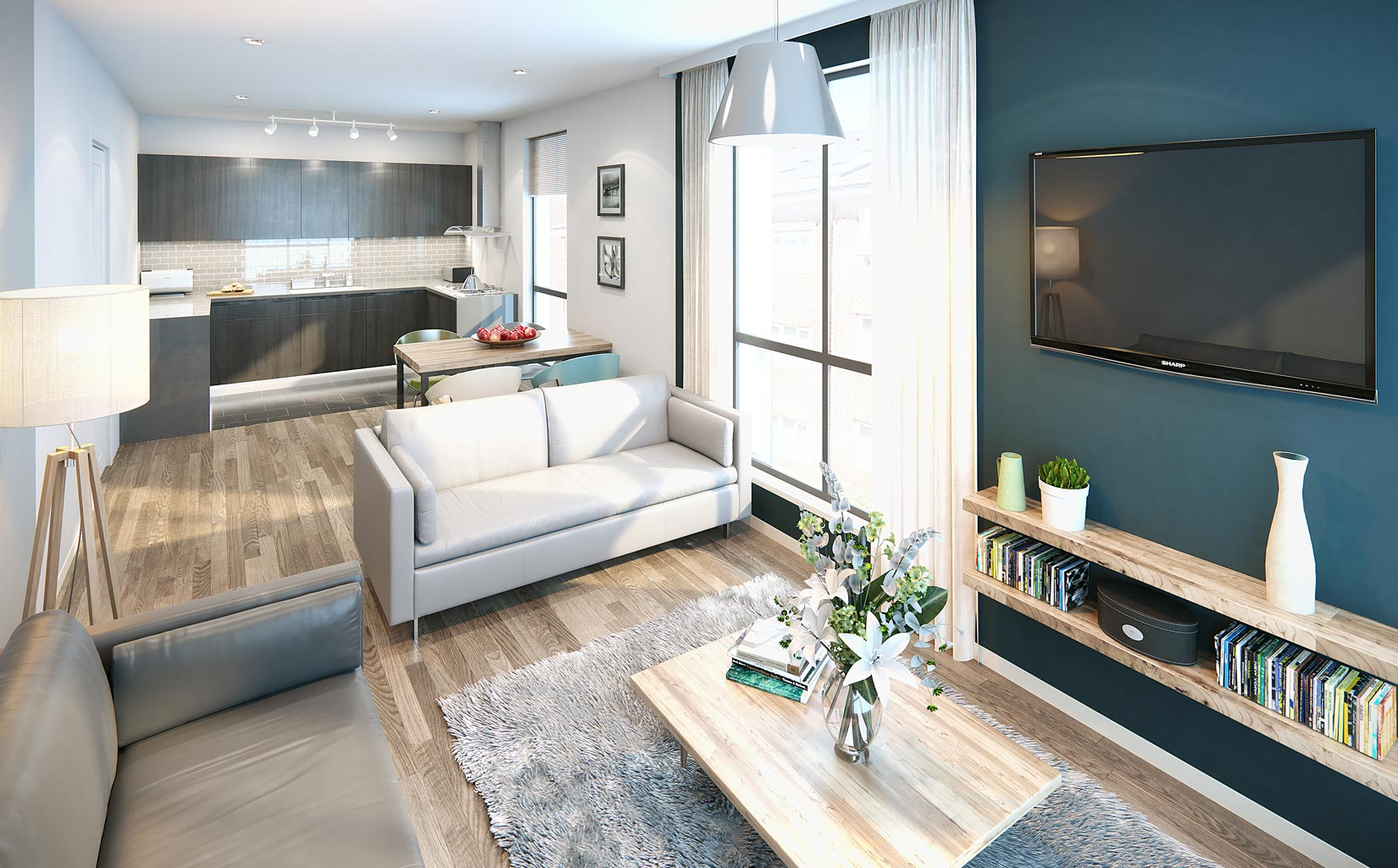 Halo, Simpson Street, Manchester, 3D Visual of Living Area