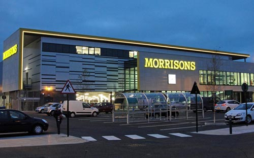 Morrisons Cardiff, Night time view