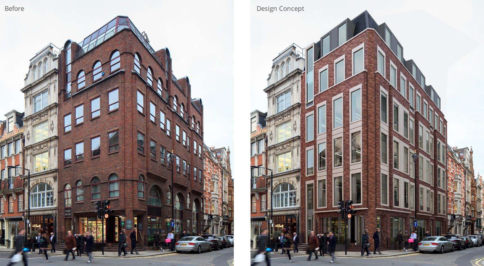 Nash House, Mayfair, London, Before and After