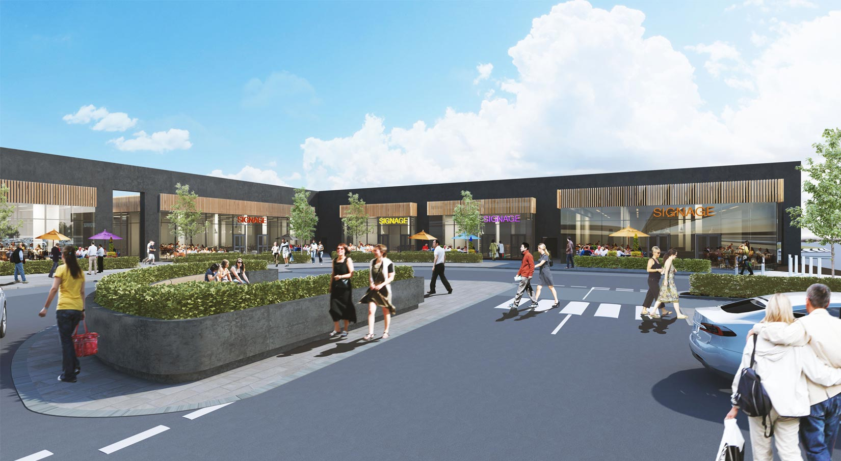 Shopping Park, Central Lancashire, 3D Visual of proposed Restaurant Units