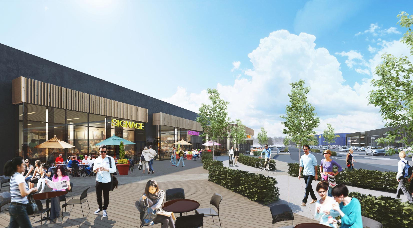 Shopping Park, Central Lancashire, 3D Visual of proposed Restaurant Units and people socialising