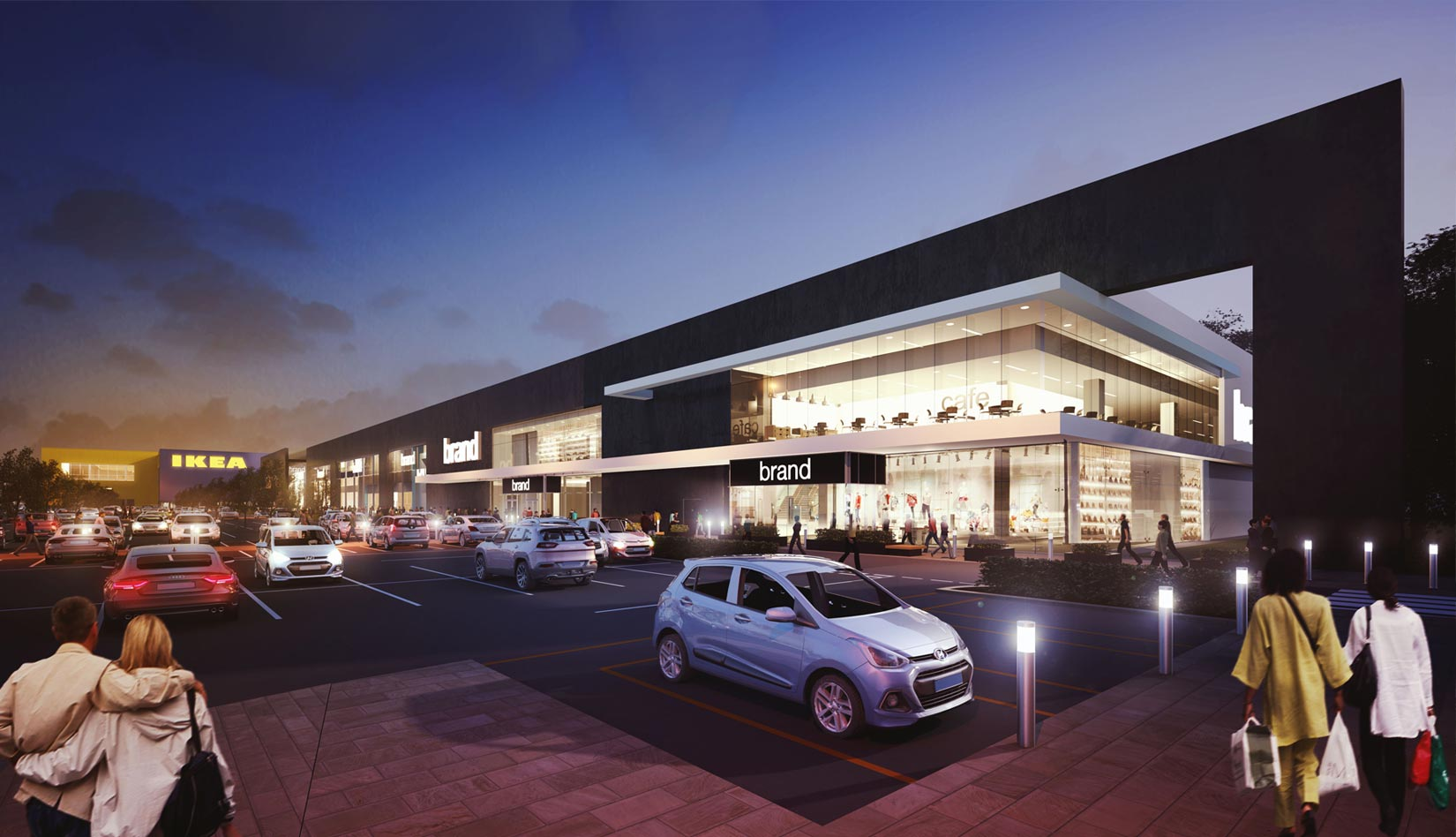 Shopping Park, Central Lancashire, 3D Visual of proposed IKEA Store & Retail Units at night