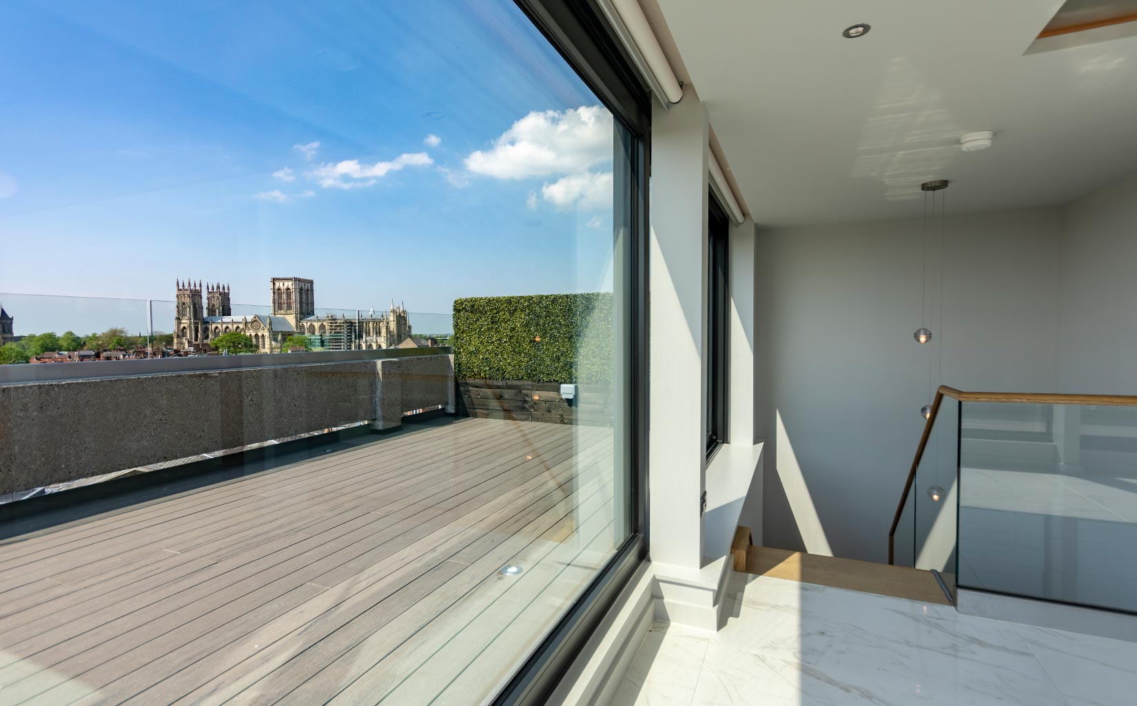 Stonebow House, York, View from penthouse towards York Minster - Photograph © Oakgate Developments Plc