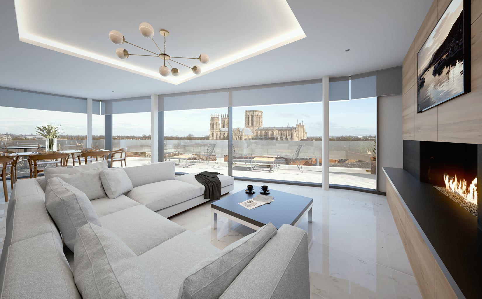 Stonebow House, York, 3D Visual of penthouse interior with view towards York Minster