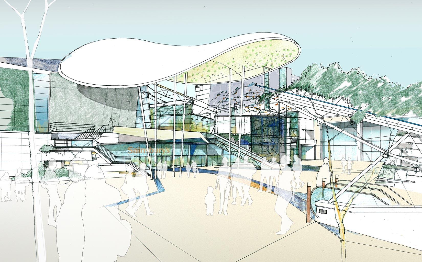 Trinity Walk, Wakefield, Sketch Concept Entrance