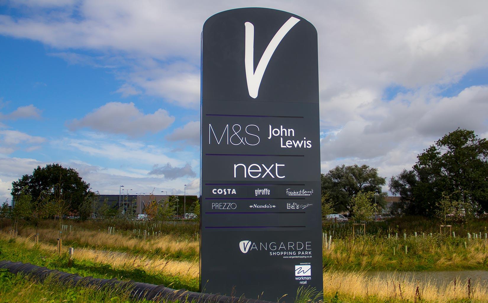 Vangarde Shopping Park, York, Signage